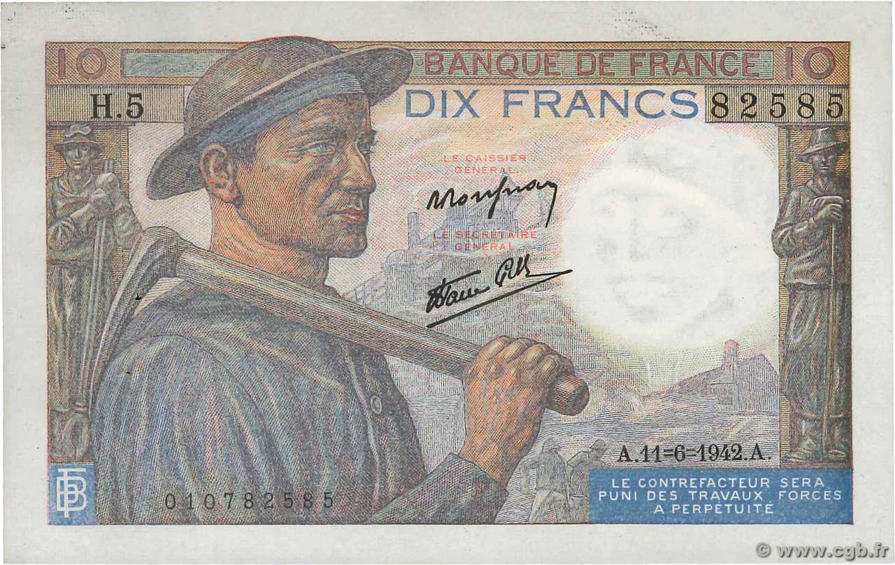 10 Francs MINEUR  FRANCE  1942 F.08.03 SUP+