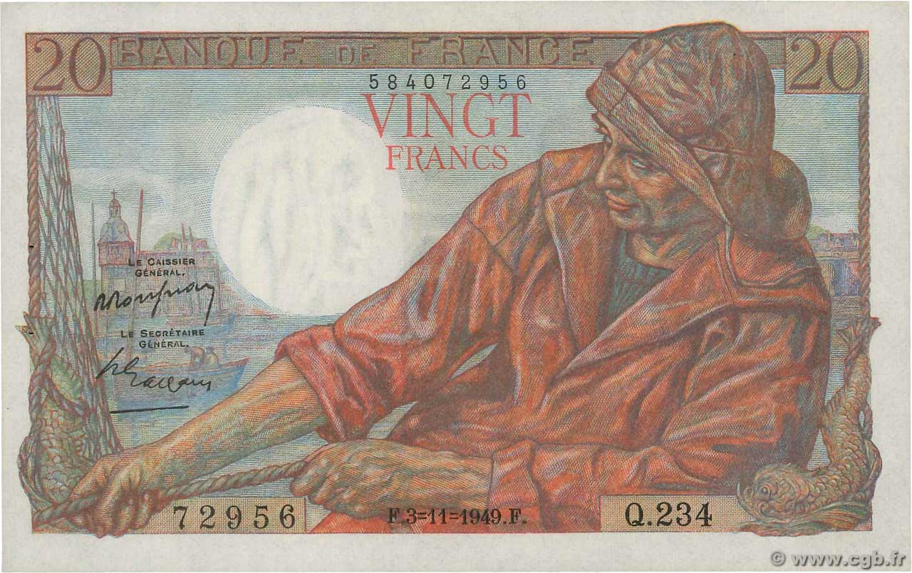 20 Francs PÊCHEUR  FRANCE  1949 F.13.16 SUP+