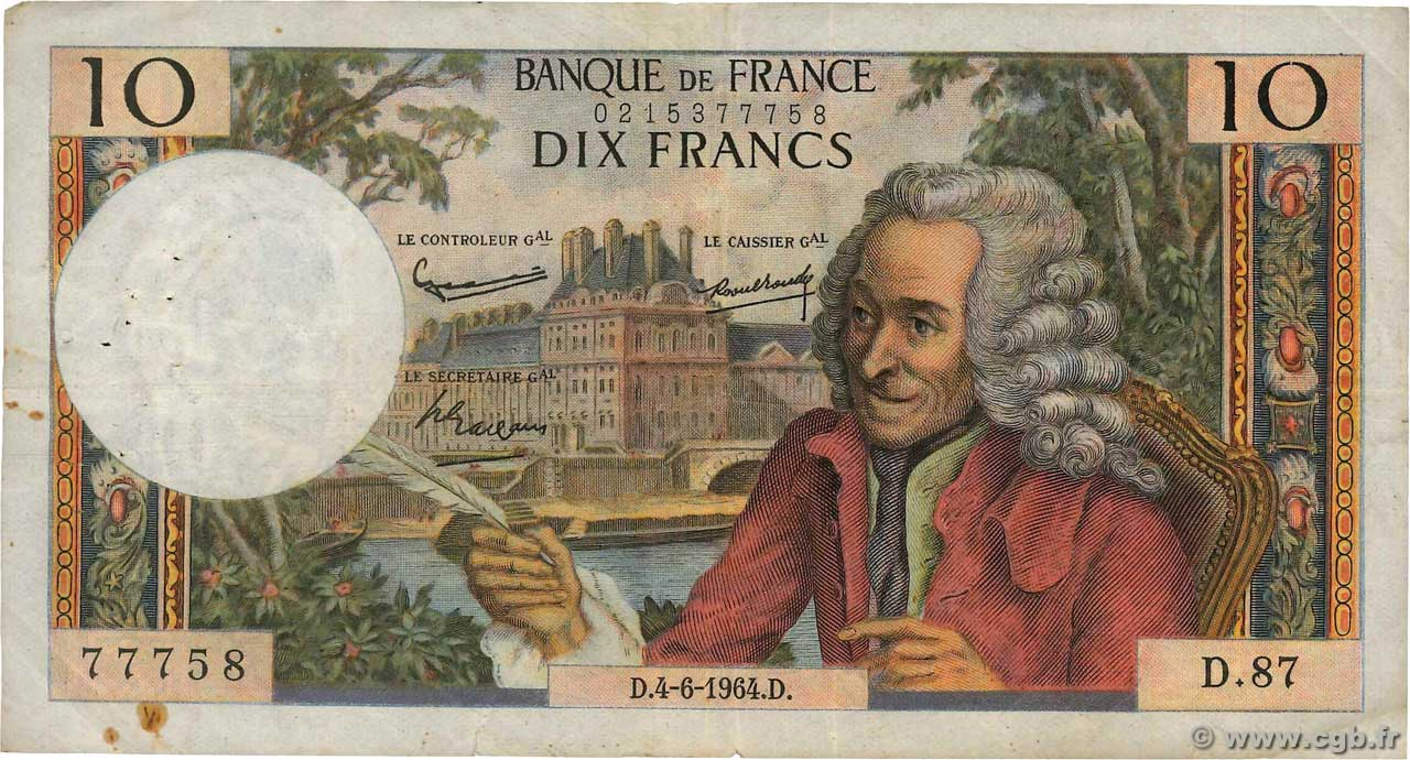 10 Francs VOLTAIRE  FRANCE  1964 F.62.09 TB