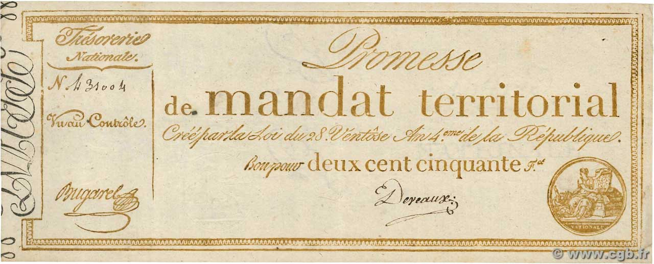 250 Francs sans série  FRANCE  1796 Ass.61a TTB