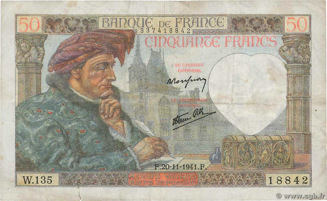 50 Francs JACQUES CŒUR  FRANCE  1941 F.19.16 TB