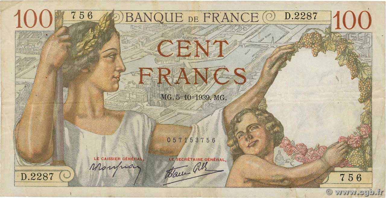 100 Francs SULLY  FRANCE  1939 F.26.09 TB