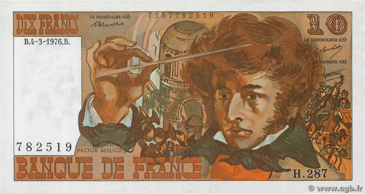 10 Francs BERLIOZ  FRANCE  1976 F.63.18 SPL