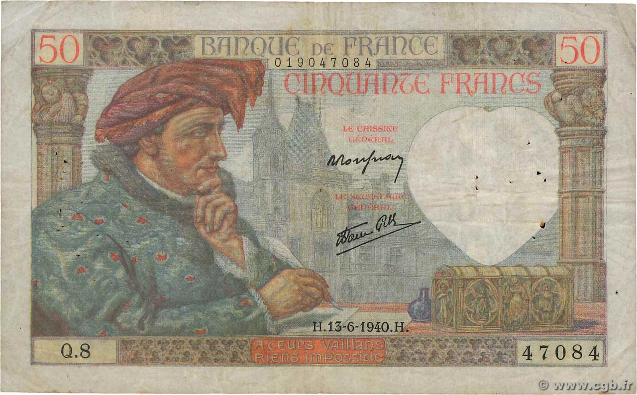 50 Francs JACQUES CŒUR  FRANCE  1940 F.19.01 TB