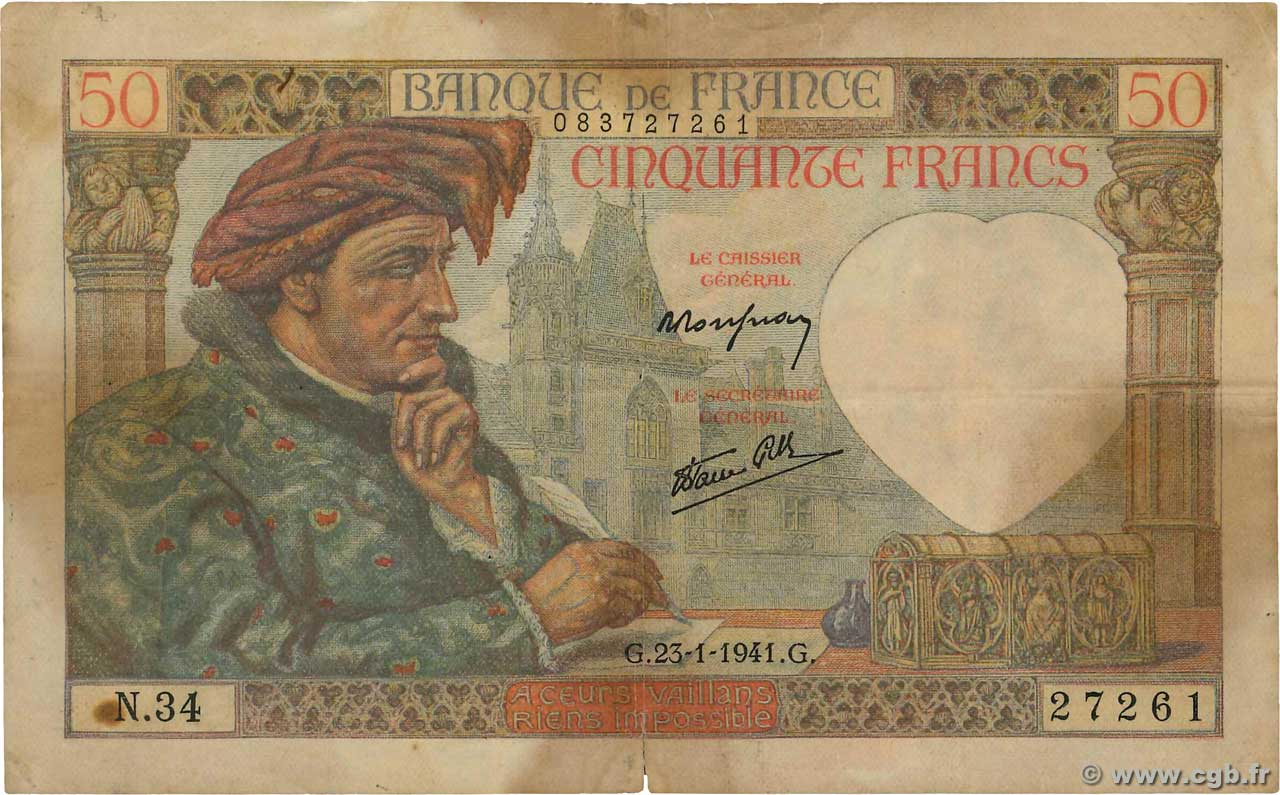 50 Francs JACQUES CŒUR  FRANCE  1941 F.19.05 B