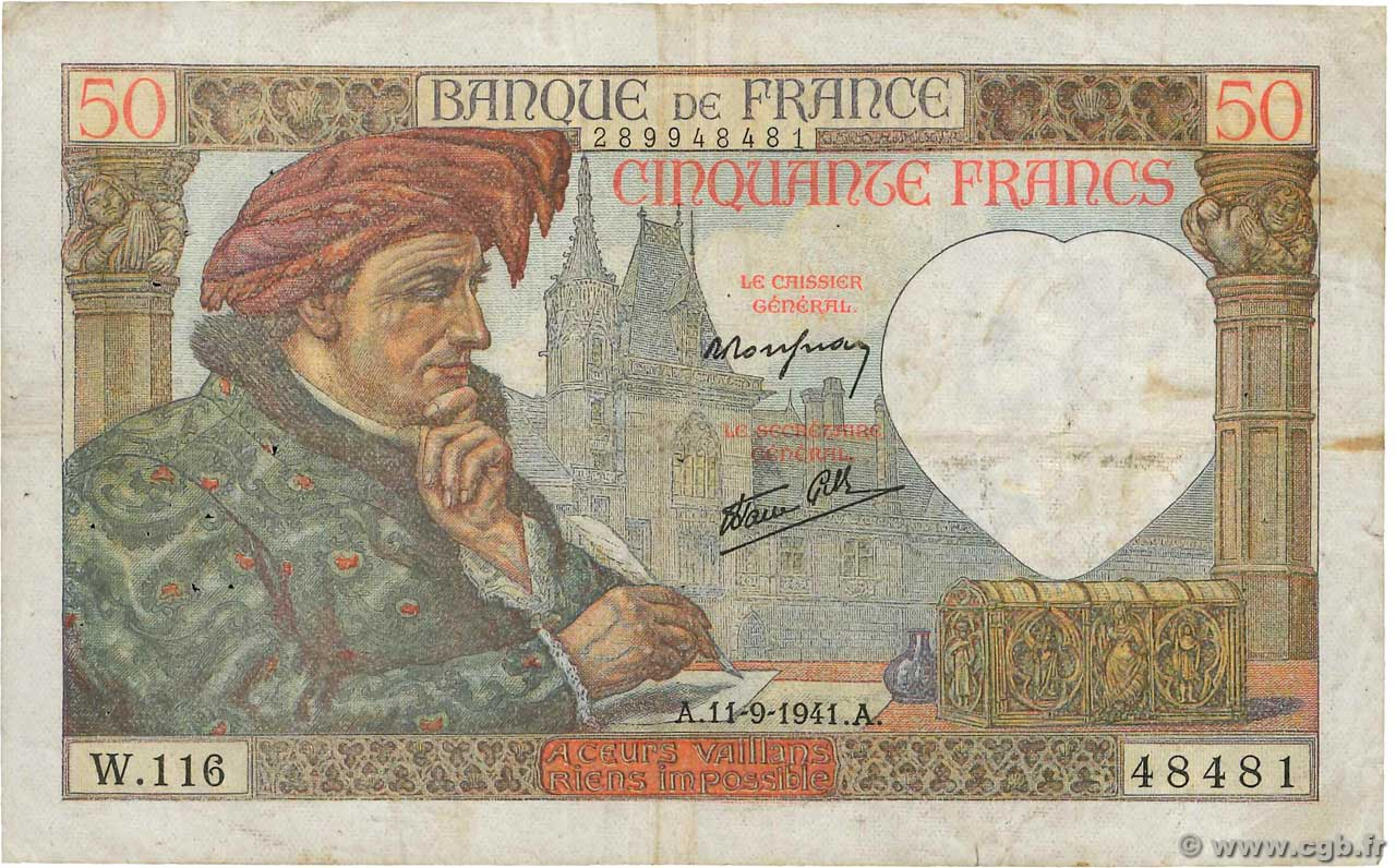 50 Francs JACQUES CŒUR  FRANCE  1941 F.19.14 TB