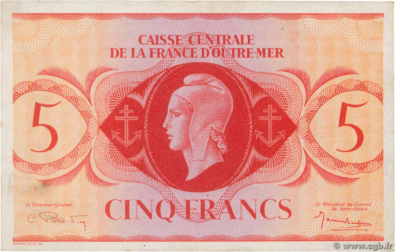5 Francs FRENCH EQUATORIAL AFRICA  1944 P.15c XF+