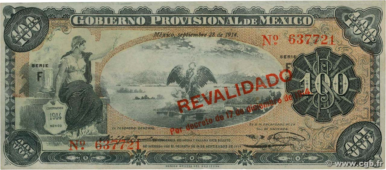 100 Pesos MEXIQUE  1914 PS.0708b TTB+