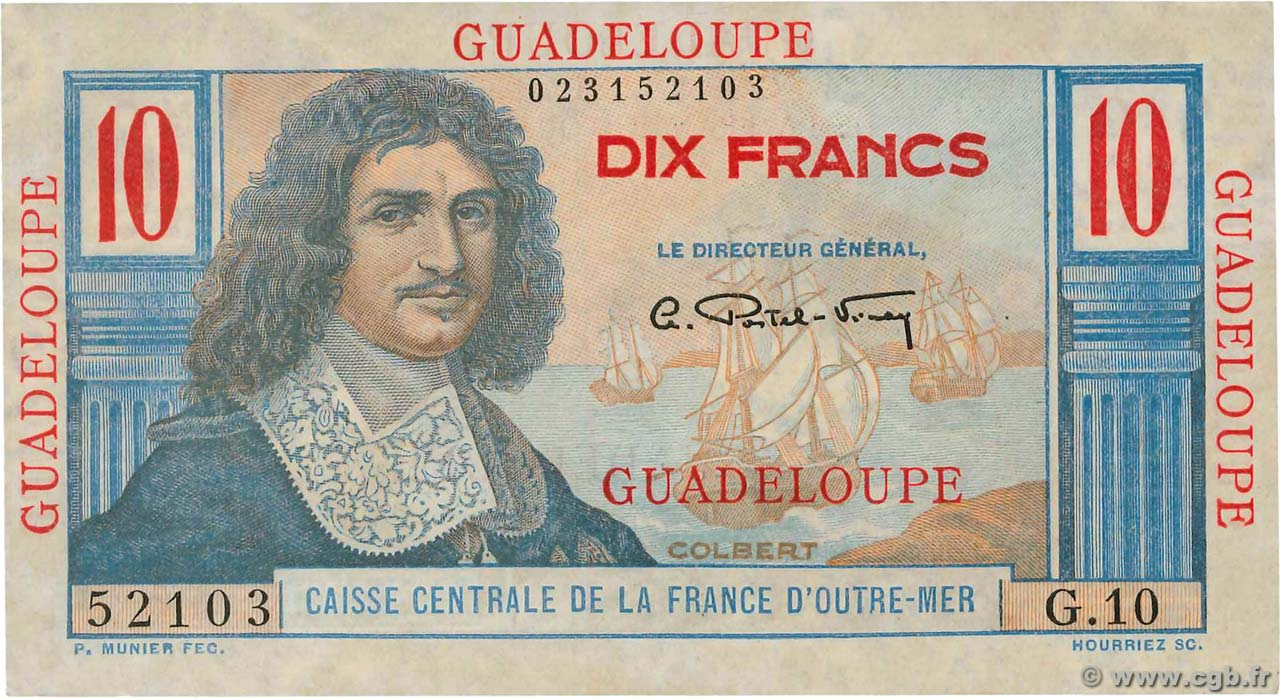 10 Francs Colbert  GUADELOUPE  1946 P.32 SPL