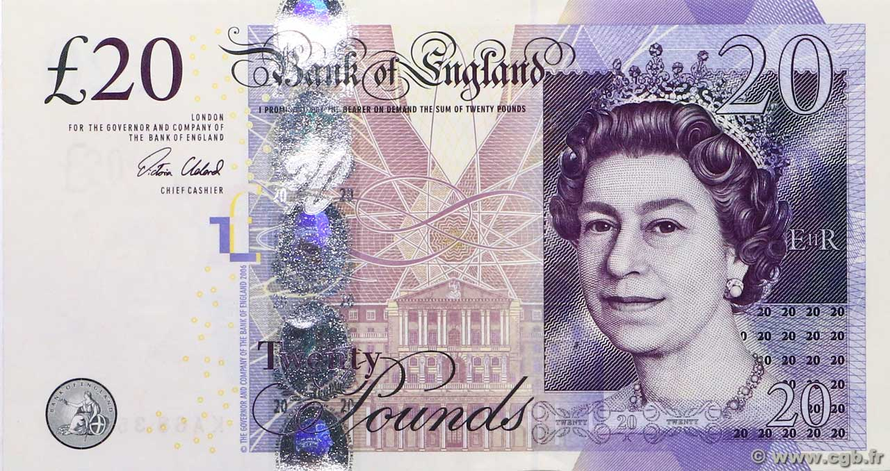 20 Pounds  ENGLAND  2015 P.392c UNC-