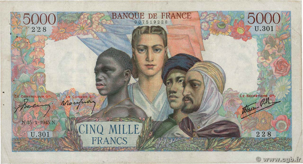 5000 Francs EMPIRE FRANÇAIS FRANCE  1945 F.47.13 TB
