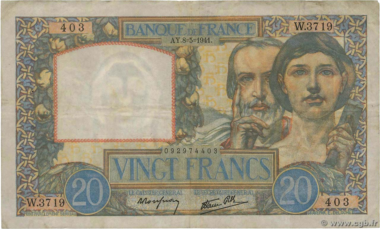 20 Francs TRAVAIL ET SCIENCE FRANCE  1941 F.12.14 TB