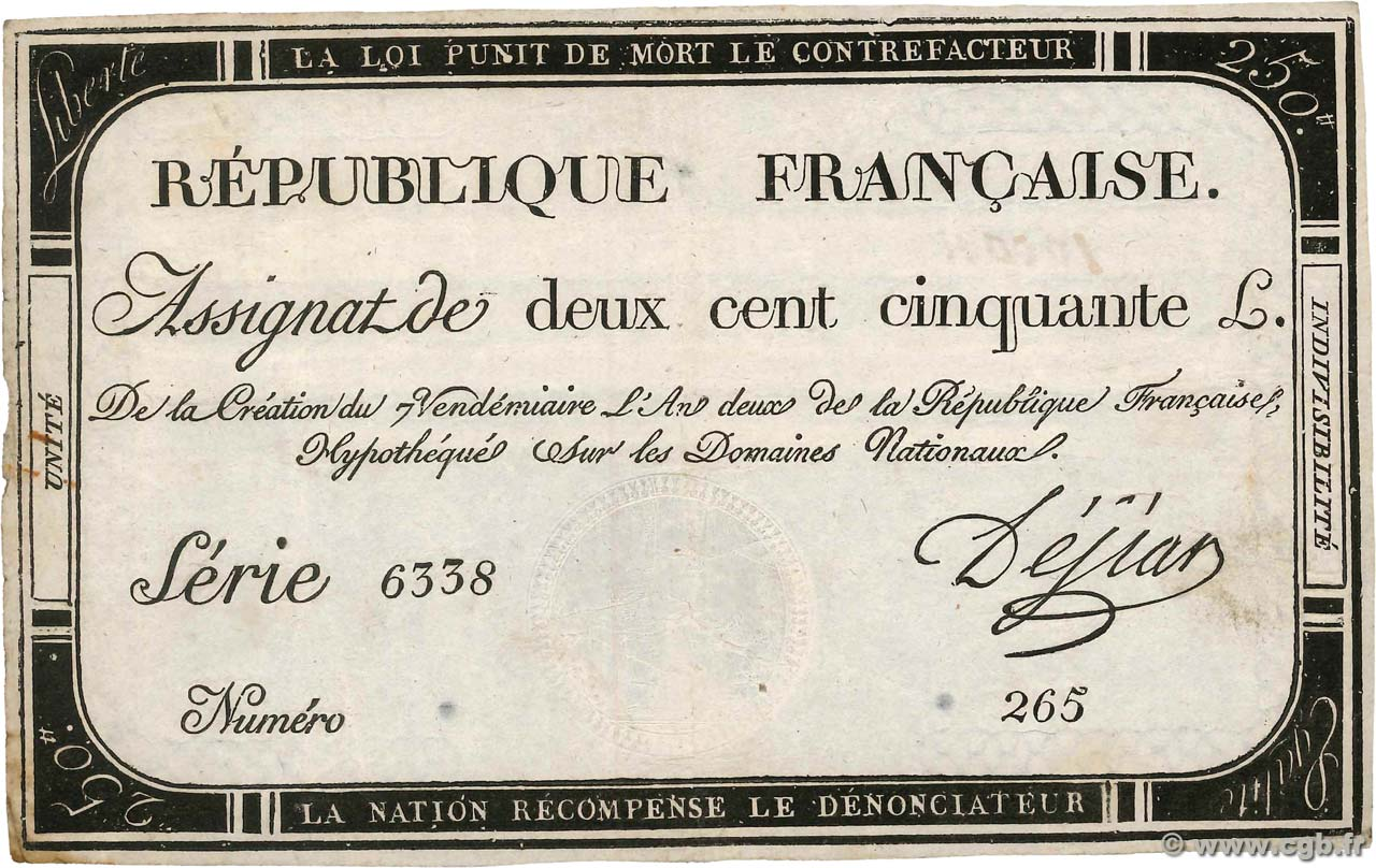250 Livres FRANCE  1793 Ass.45a pr.TTB
