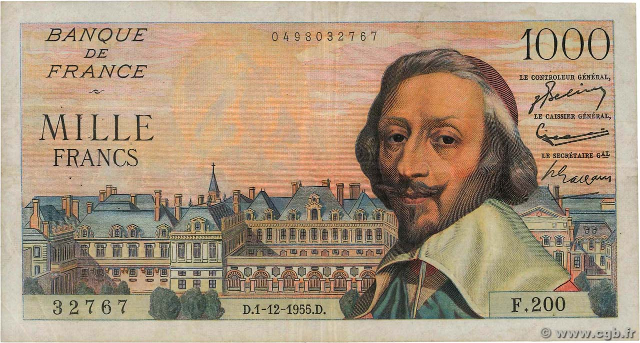 1000 Francs RICHELIEU FRANCE  1955 F.42.17 TB