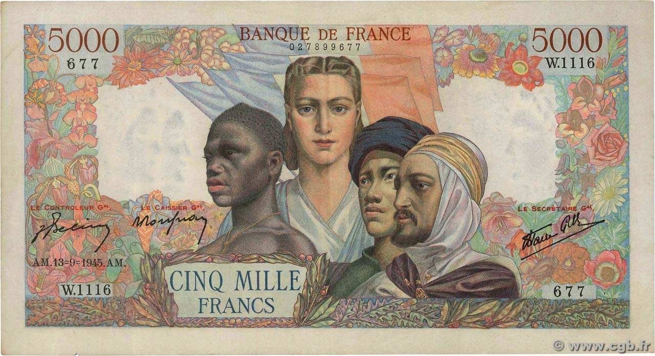 5000 Francs EMPIRE FRANÇAIS FRANCE  1945 F.47.43 TTB+