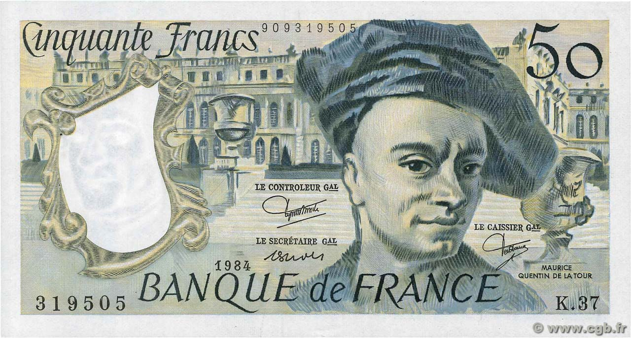 50 Francs QUENTIN DE LA TOUR FRANCE  1984 F.67.10 TTB+