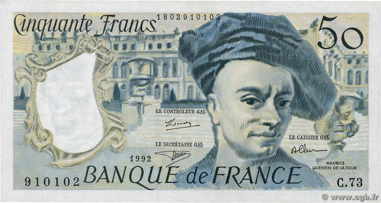 50 Francs QUENTIN DE LA TOUR FRANCE  1992 F.67.18 TTB+