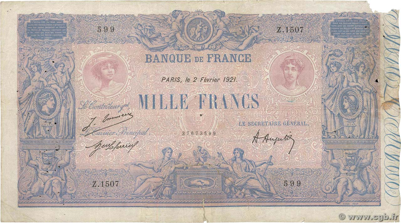 1000 Francs BLEU ET ROSE FRANCE  1921 F.36.37 B