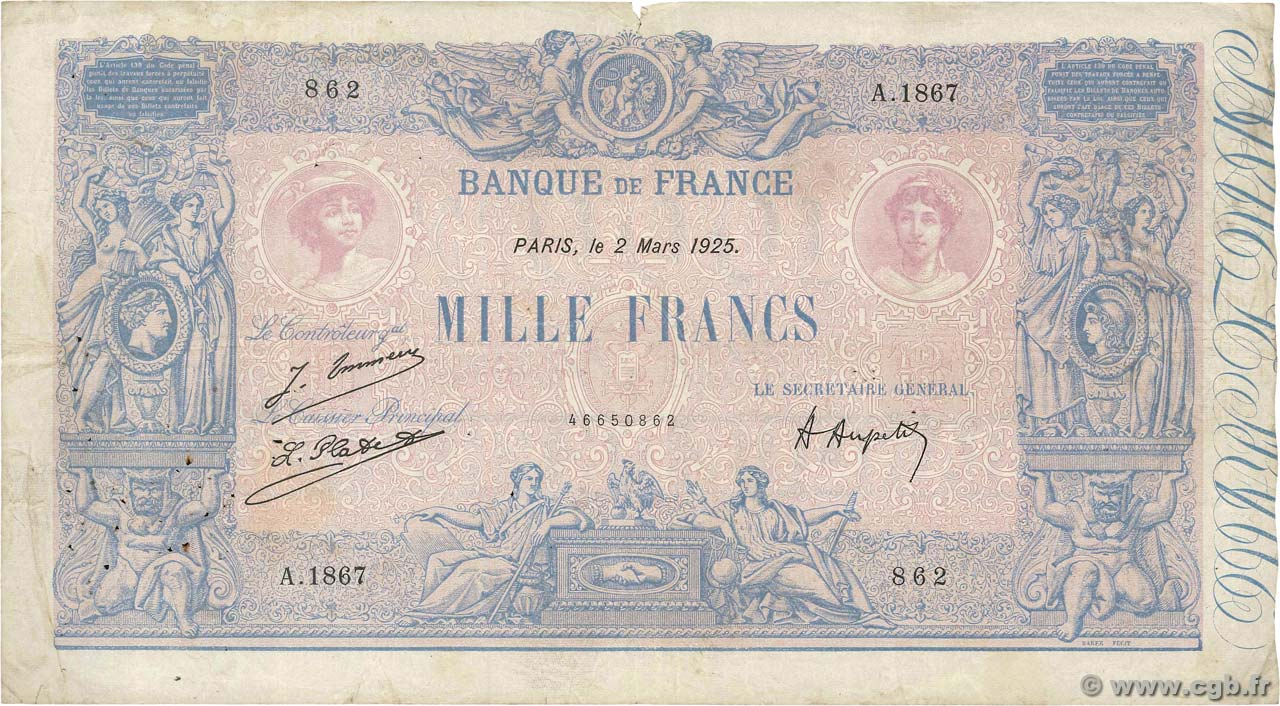 1000 Francs BLEU ET ROSE FRANCE  1925 F.36.41 pr.TB