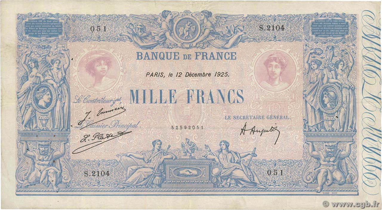1000 Francs BLEU ET ROSE FRANCE  1925 F.36.41 TB+