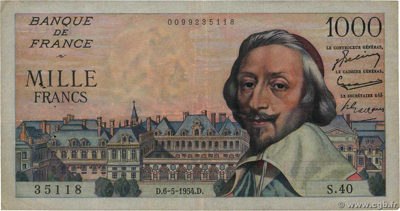 1000 Francs RICHELIEU FRANCE  1954 F.42.05 TB+