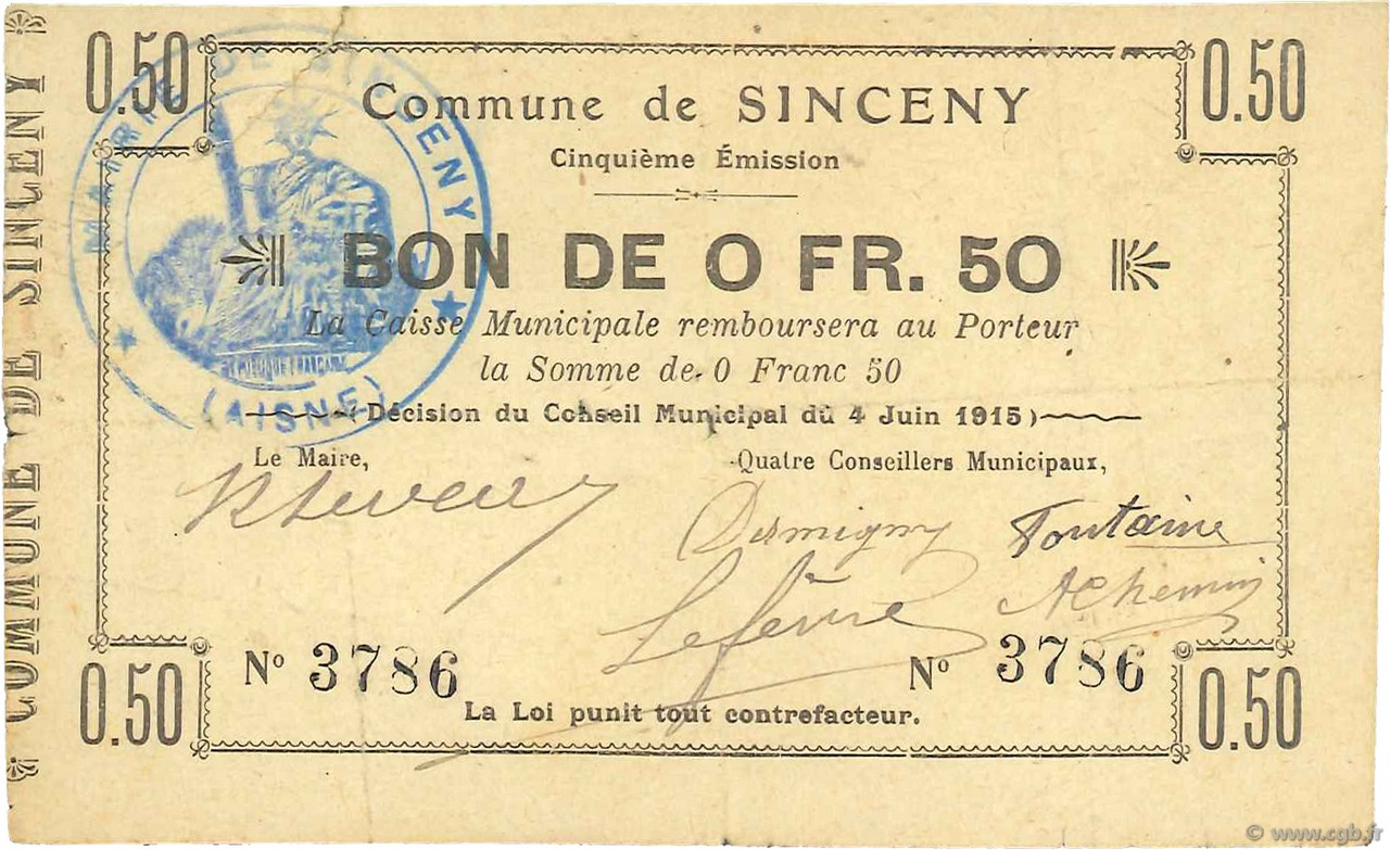 50 Centimes FRANCE régionalisme et divers SINCENY 1915 JP.02-2185 TTB