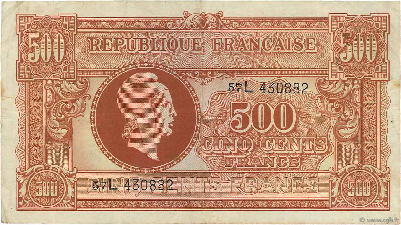 500 Francs MARIANNE FRANCE  1945 VF.11.01 TTB