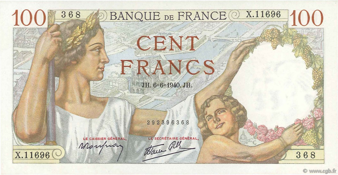 100 Francs SULLY FRANCE  1940 F.26.31 pr.NEUF