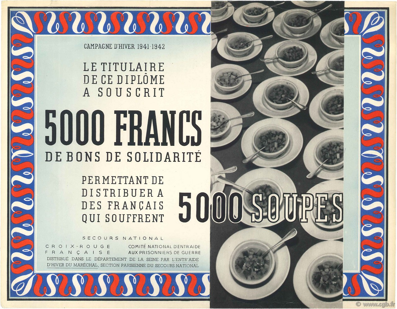 5000 Francs - 5000 Soupes  FRANCE régionalisme et divers  1941 KL.06 SUP