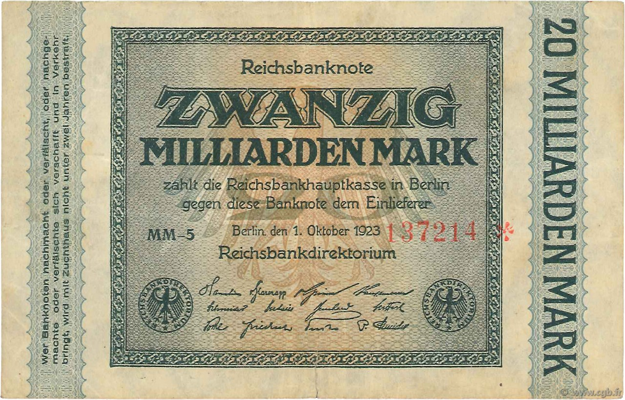 20 Milliards Mark ALLEMAGNE  1923 P.118a TB+