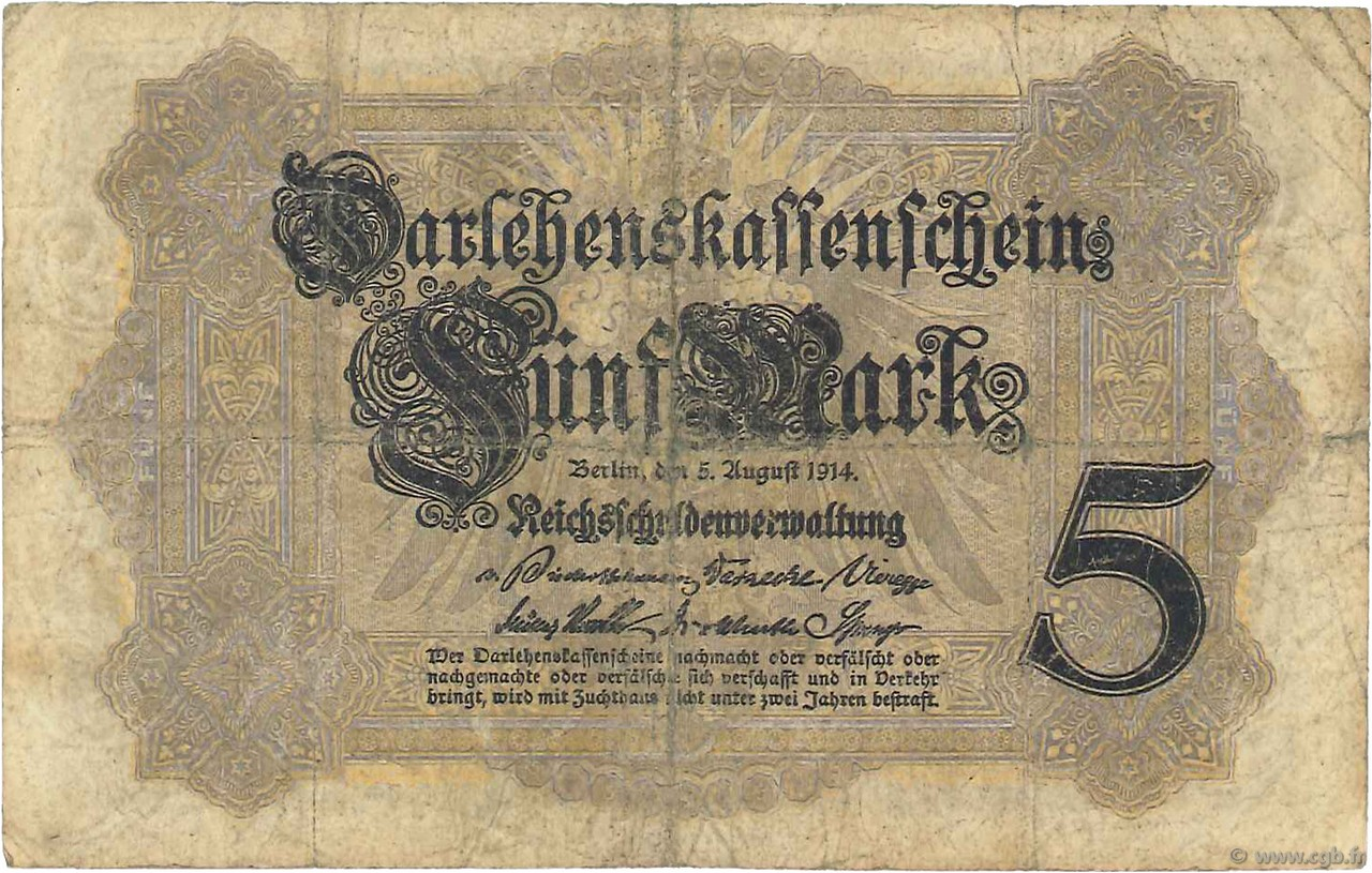 5 Mark ALLEMAGNE  1914 P.047b TB
