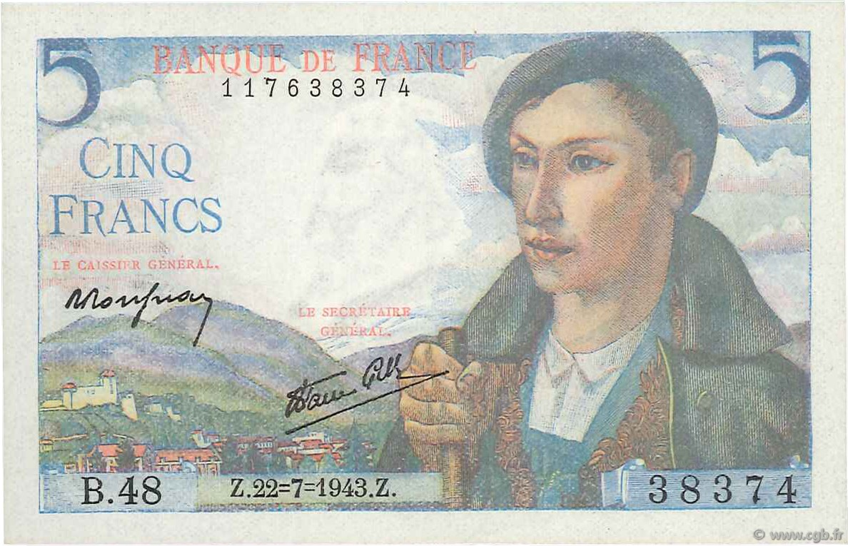 5 Francs BERGER FRANCE  1943 F.05.02 SPL+