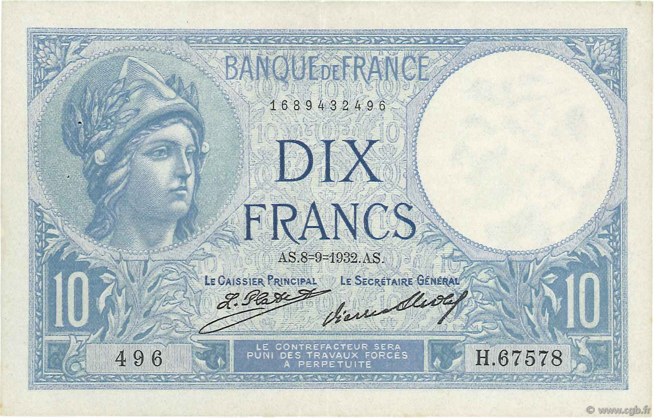 10 Francs MINERVE  FRANCE  1932 F.06.16 SUP
