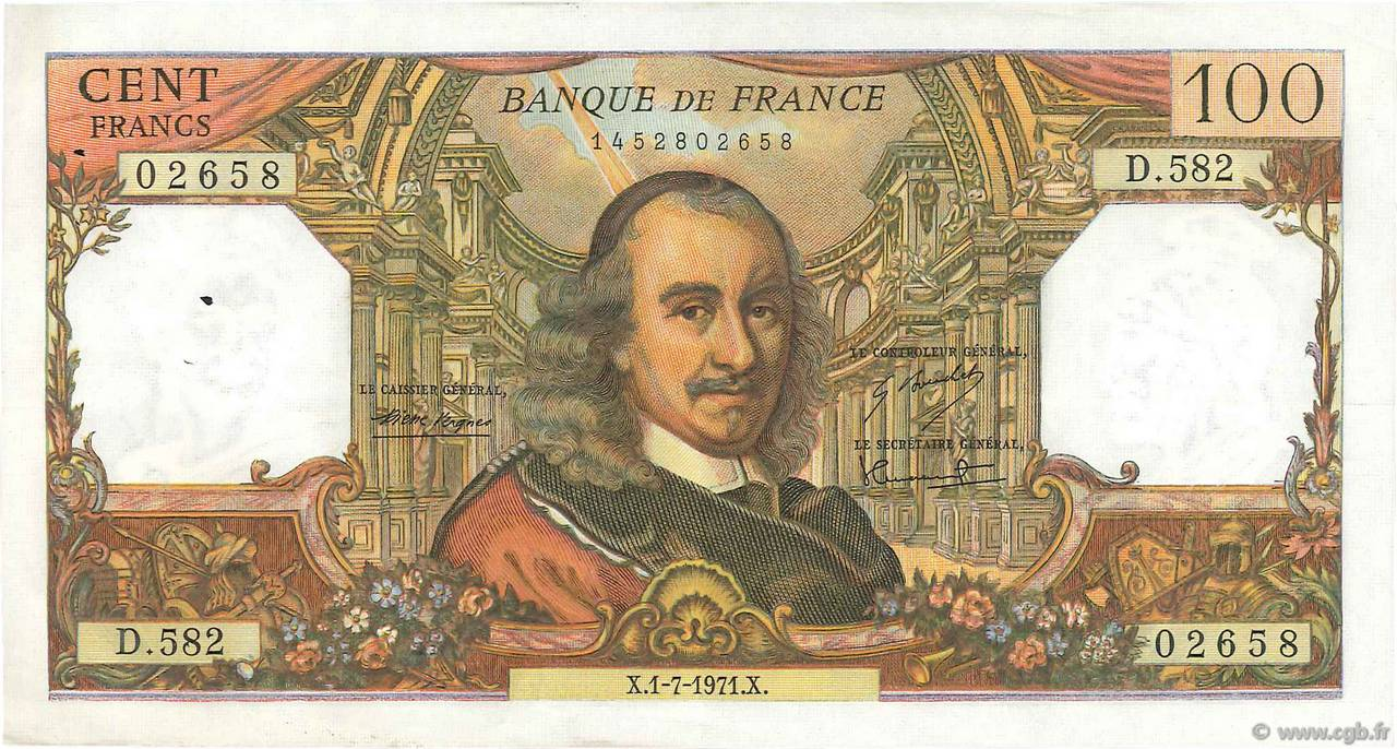 100 Francs CORNEILLE  FRANCE  1971 F.65.36 SUP