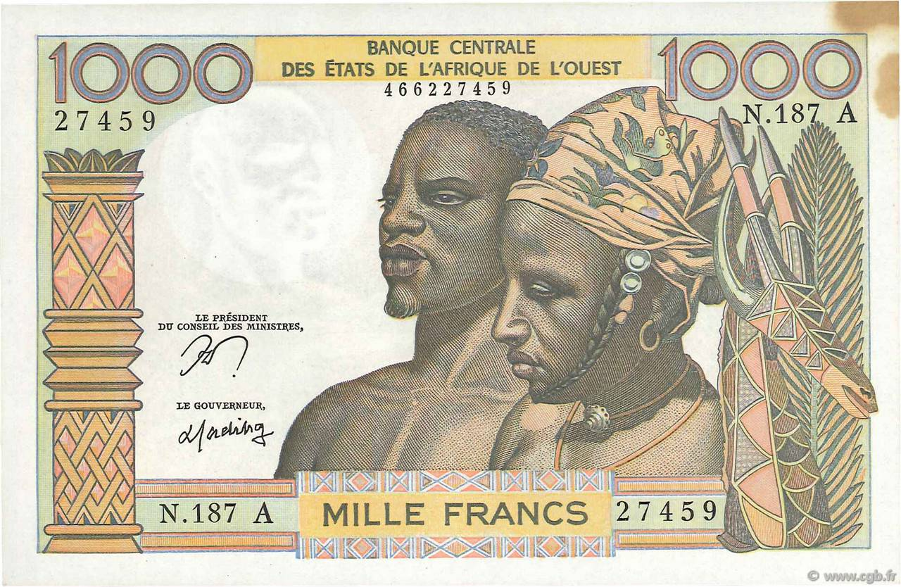 1000 Francs type 1960 COTE D IVOIRE  1977 P.103Am SPL