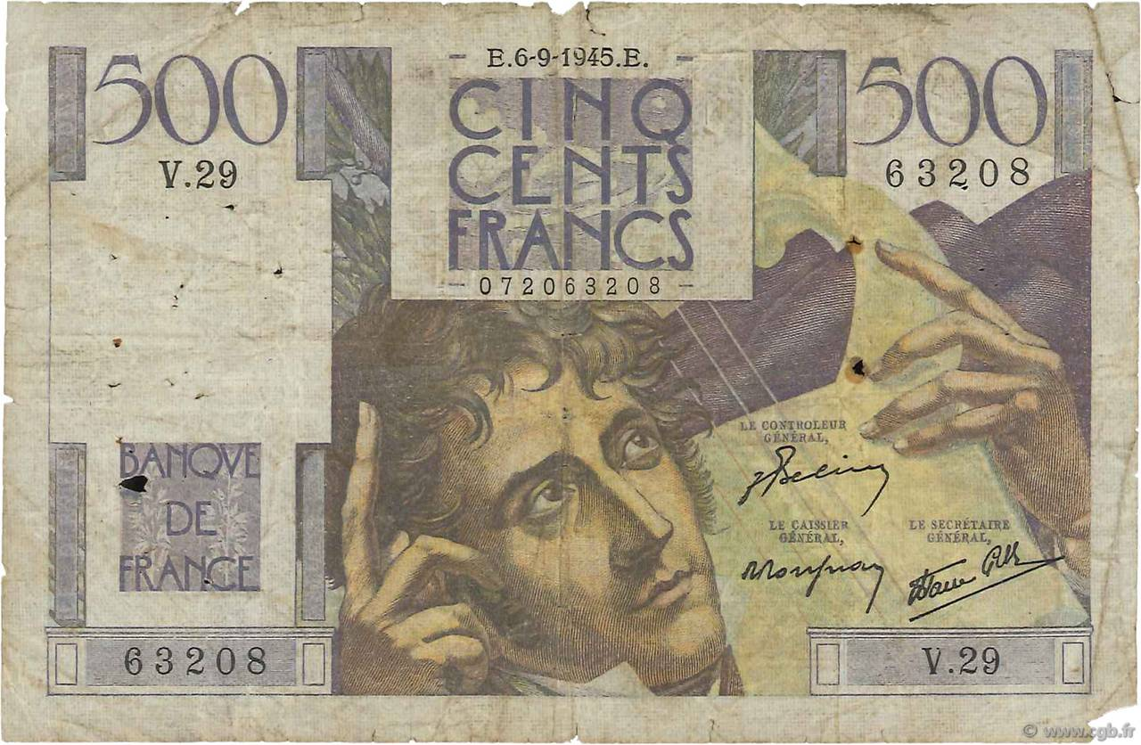 500 Francs CHATEAUBRIAND FRANCE  1945 F.34.02 pr.B