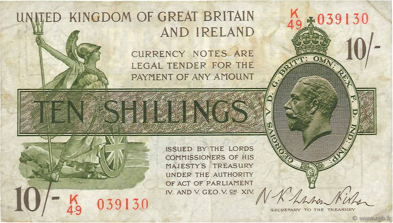 10 Shillings ANGLETERRE  1922 P.358 TB+