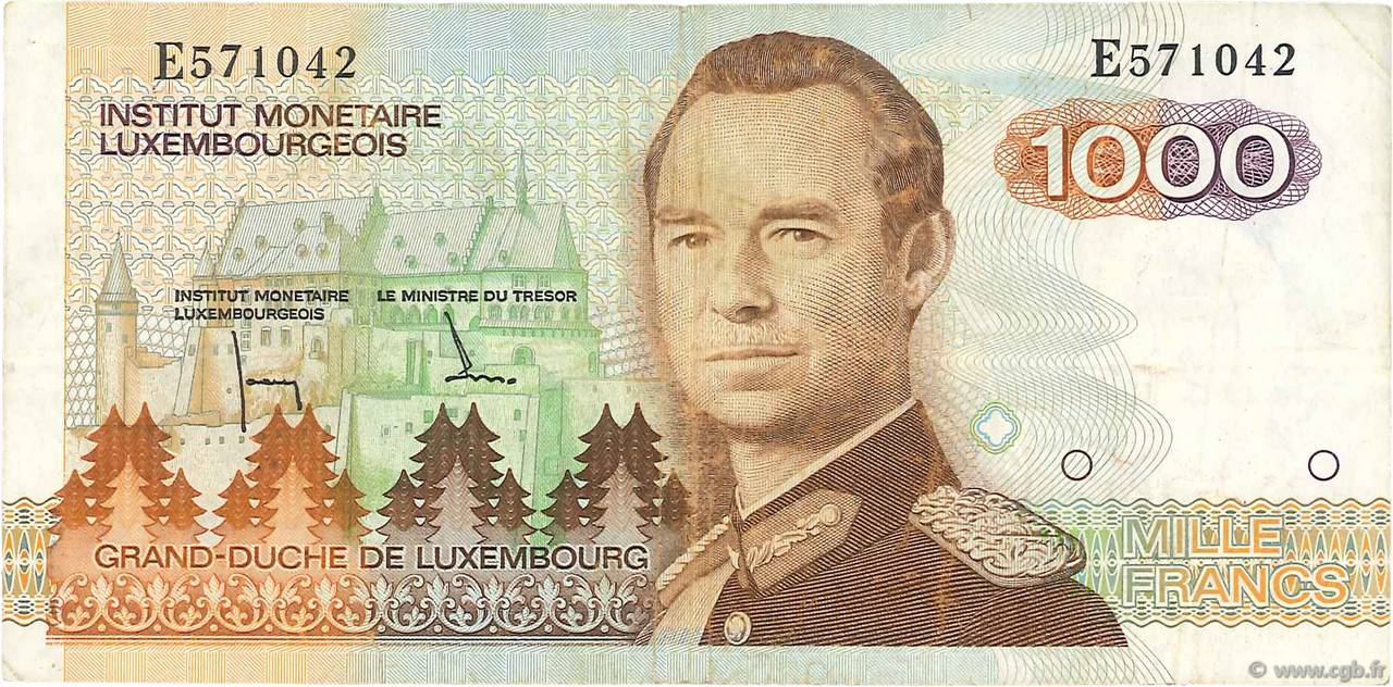 1000 Francs LUXEMBOURG  1985 P.59a TTB