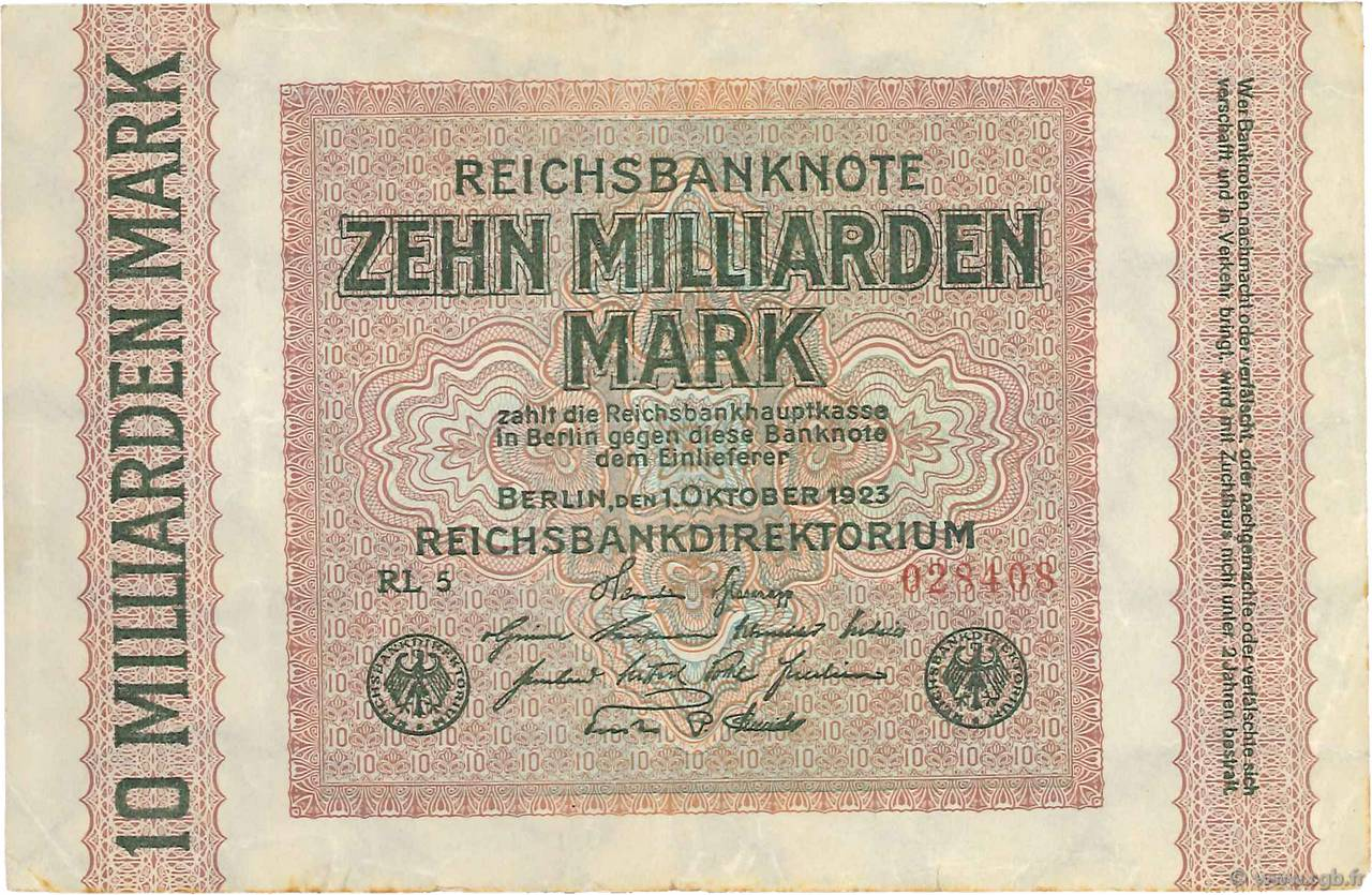 10 Milliards Mark ALLEMAGNE  1923 P.117c TTB