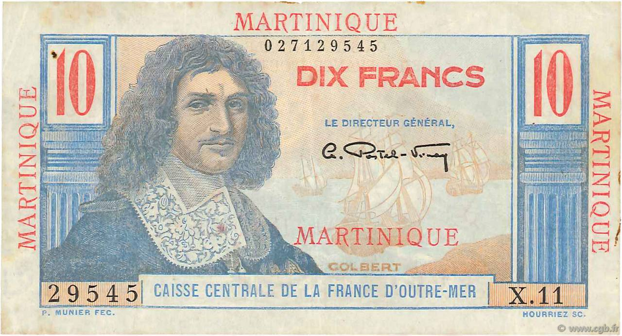 10 Francs Colbert MARTINIQUE  1946 P.28 TTB+