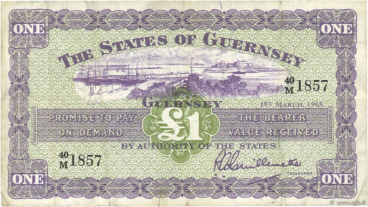 1 Pound GUERNESEY  1965 P.43b TB