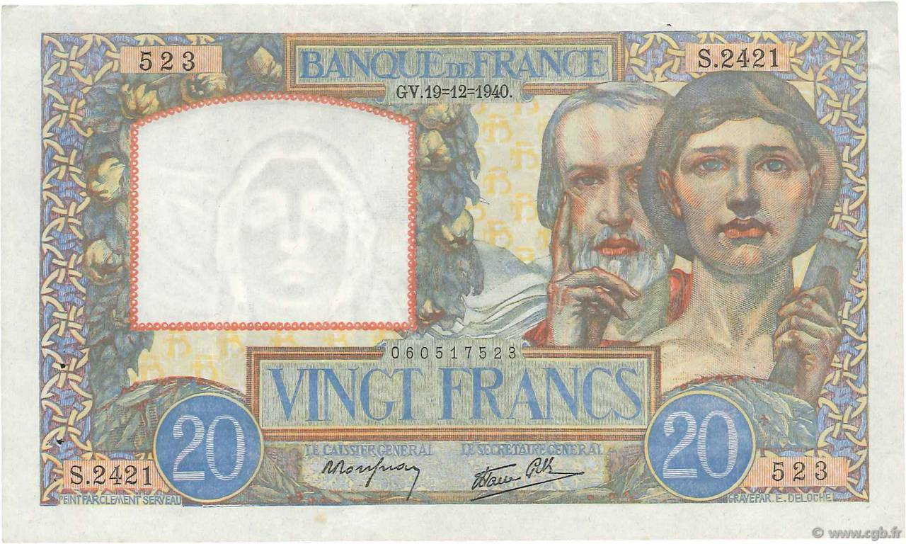 20 Francs SCIENCE ET TRAVAIL FRANCE  1940 F.12.11 TTB+