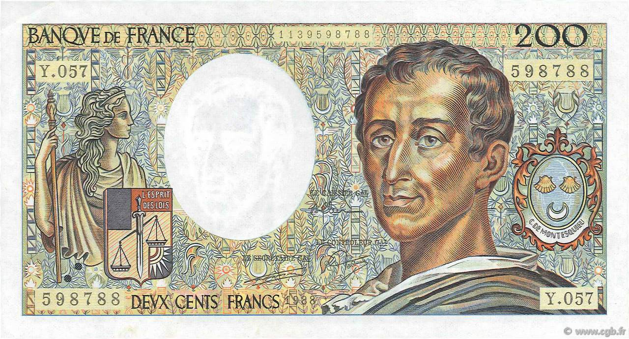 200 Francs MONTESQUIEU FRANCE  1988 F.70.08 SPL+