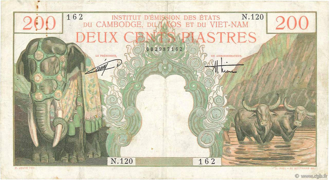 200 Piastres - 200 Dong INDOCHINE FRANÇAISE  1953 P.109 TB