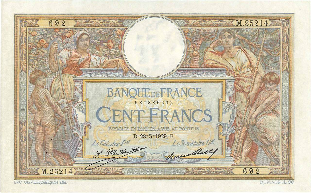 100 Francs LUC OLIVIER MERSON grands cartouches FRANCE  1929 F.24.08 SUP+
