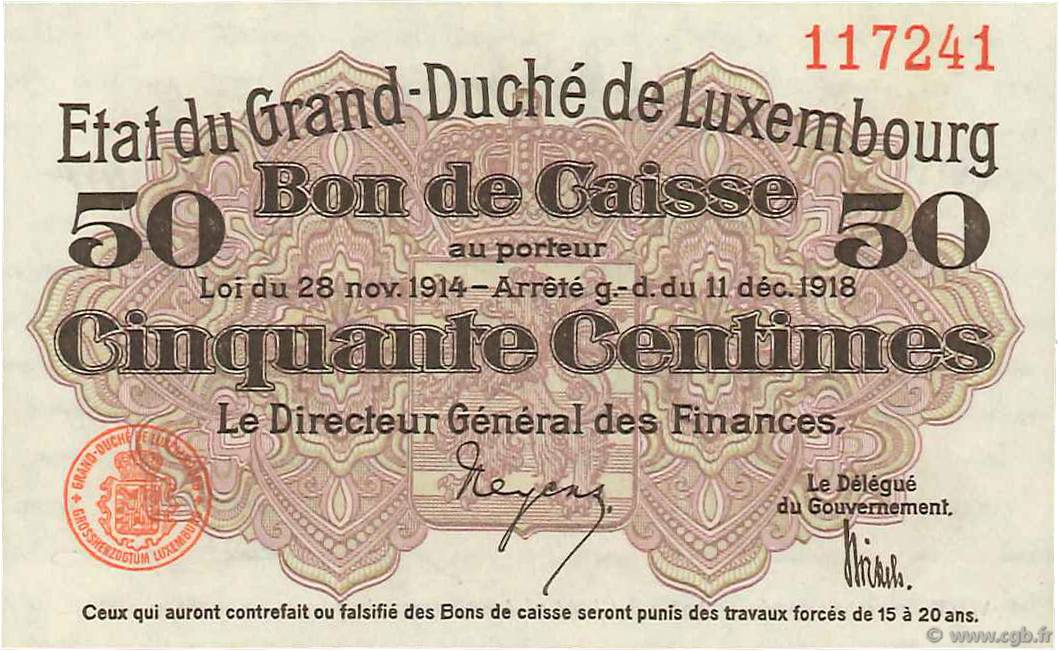 50 Centimes LUXEMBOURG  1919 P.26 pr.NEUF