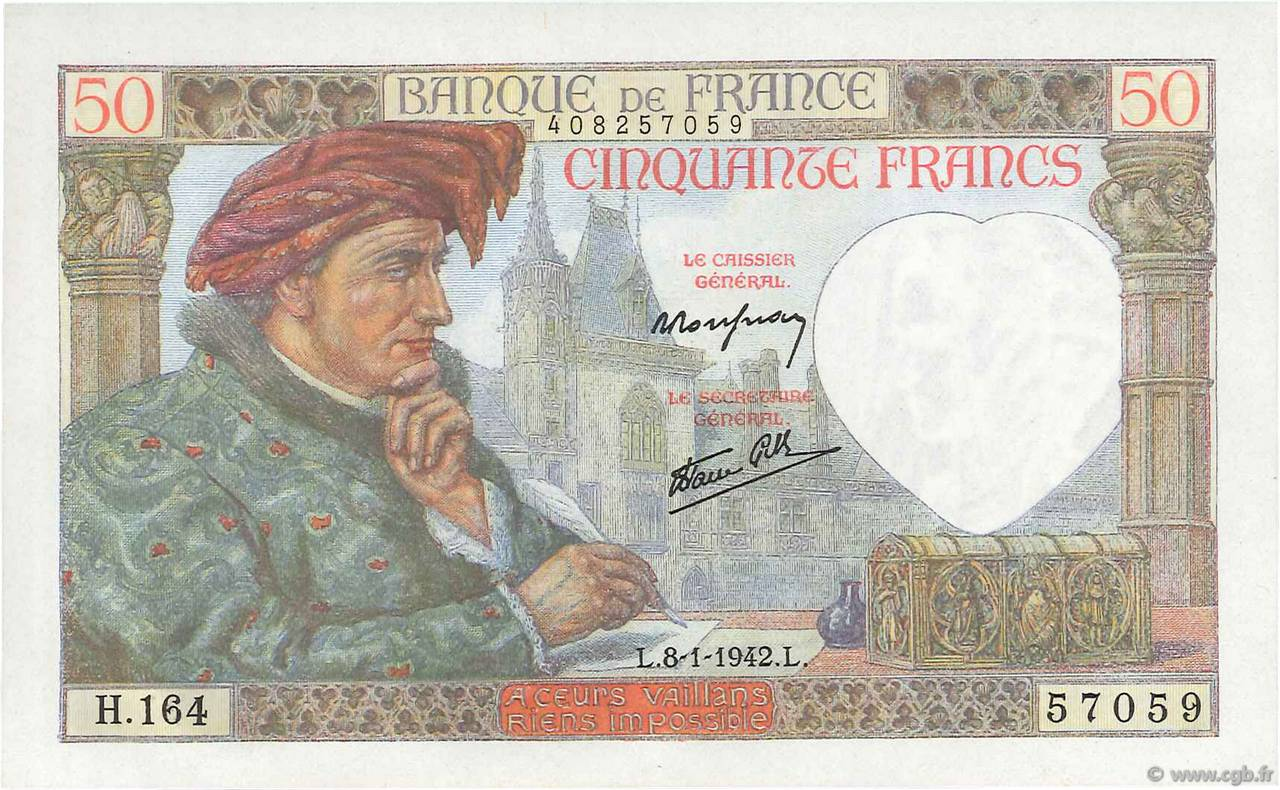 50 Francs JACQUES CŒUR FRANCE  1942 F.19.18 NEUF