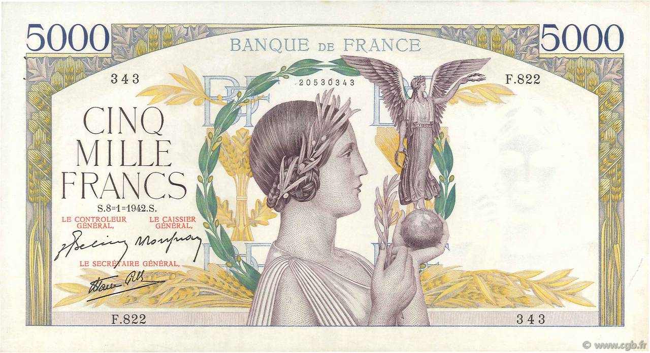 5000 Francs VICTOIRE Impression à plat FRANCE  1942 F.46.32 SUP