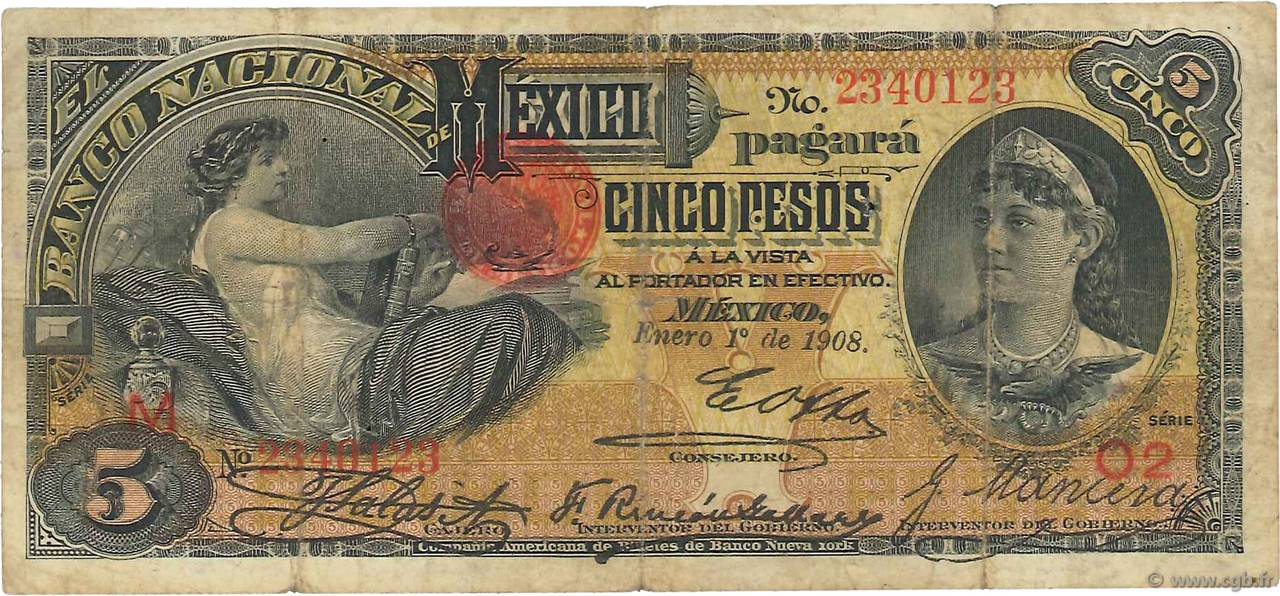 5 Pesos MEXIQUE  1908 PS.0257c TB