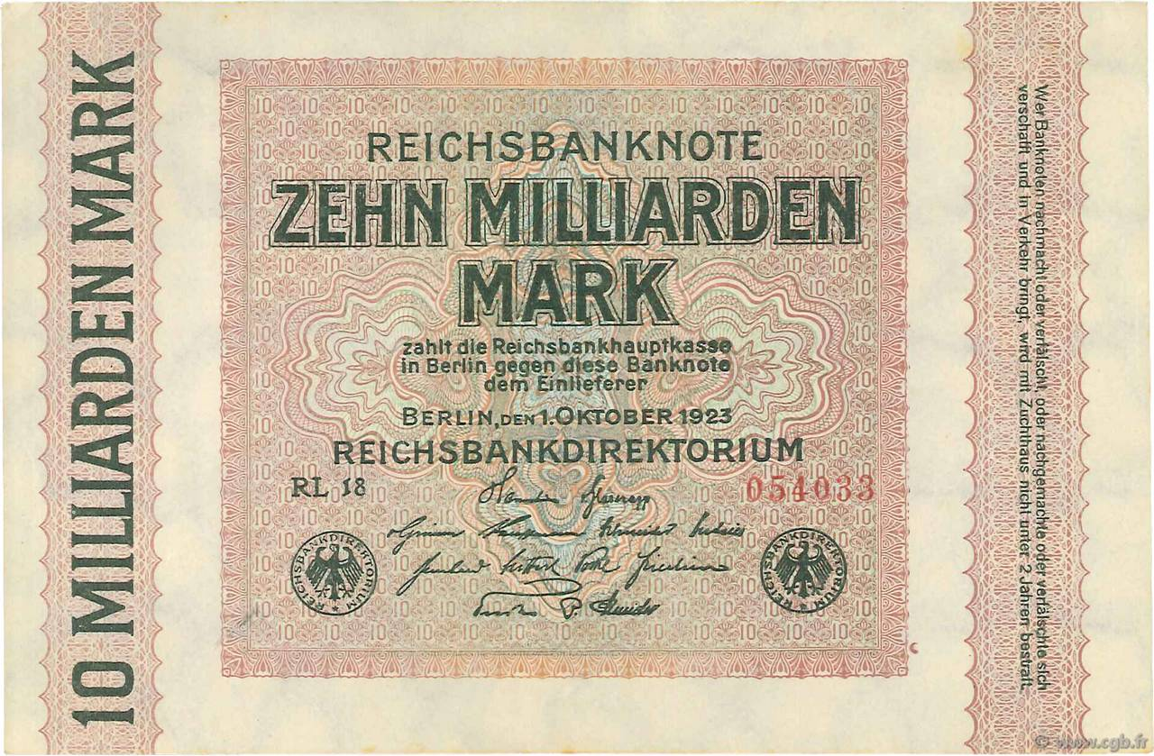 10 Milliards Mark ALLEMAGNE  1923 P.117c SPL+